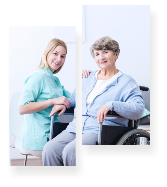 caregiver and her patient smiling at the camera