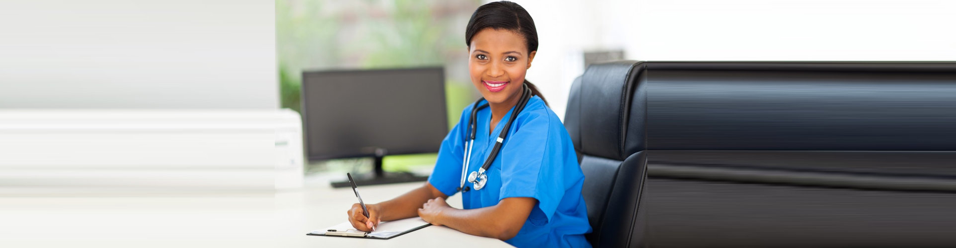 medical personnel writing